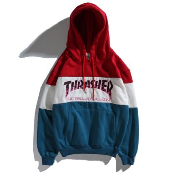 THRASHER flame embroidered monochrome hoodie hip-hop plus sweater