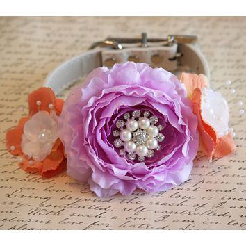 Lavender and Peach dog collar, Floral Dog Collar