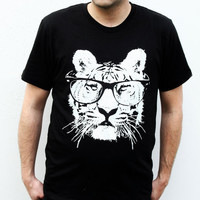 Mens Tiger Tshirt  Cat with Sunglasses  Black tshirt  by naturwrk