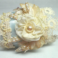 Marie Antoinette French Blue Wrist Cuff Lace And Ribbonwork Bracelet