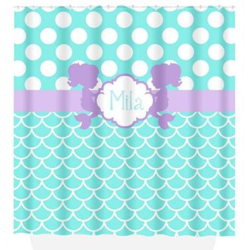 Mermaid SHOWER CURTAIN, Mermaid Bathroom, Monogram Personalized Bath Decor, Hot Pink Aqua, Sister Bathroom, Bath Towel, Plush Bath Mat