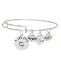 Believe Dream Hope Expandable Charm Bangle Bracelet Love Life Charm