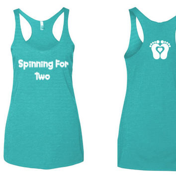 Spinning for two tank top. Fitness tank top. spin class tank top. mommy to be tank top. pregnancy tank top. tank top