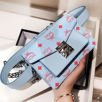 MCM Fashion Women Leather Shopping Bag Waist Bag Crossbody Satchel Shoulder Bag Blue