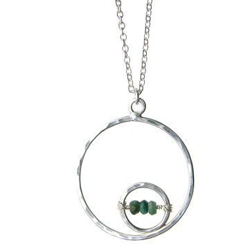 Large Double Circle Necklace with choice of gemstone