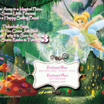 Tinkerbell Birthday Party Invite - Girl - Digital File