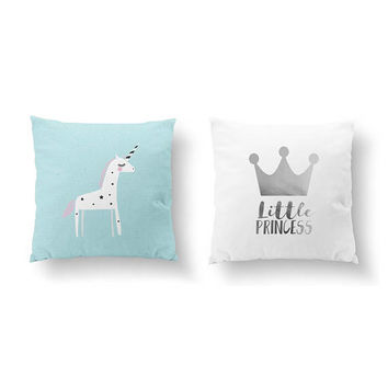 SET of 2 Pillows, Unicorn Pillow, Bed Pillow, Little Princess, Gold Pillow, Kids Room Decor, Throw Pillow, Cushion Cover, Nursery Decor