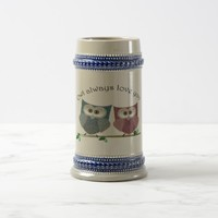 Owl always Love You, Pink and Blue Cute Owls Art Beer Stein
