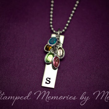 Birthstone Cluster - Hand Stamped Jewelry - Mommy Necklace - Granny, Mom - Last Name Initial - Personalized Mother, Grandma, Aunt Jewelry