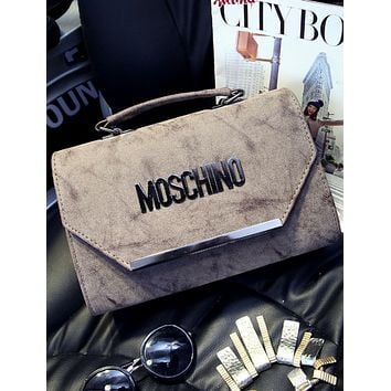 MOSCHINO fashion diagonal cross-stitching shoulder bag Messenger bag handbag F0470-1 Dark khaki
