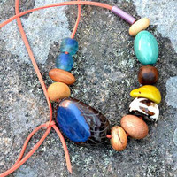 Indigo Moon Wooden Eco Necklace