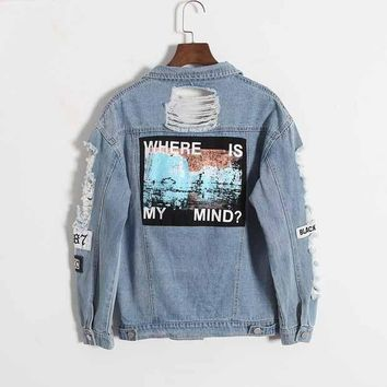 DCCK7XP Where is my mind? Korea retro washing frayed embroidery letter patch jeans bomber jacket Light Blue Ripped Denim Coat