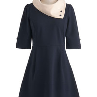 Miss Patina Colorblocking, Vintage Inspired, 60s, Mod, French Mid-length 3 A-line Parisian Port Dress in Navy