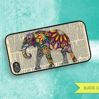 iPhone 5 Case Elephant With Flower & Vintage Dictionary iPhone 4 Case, iPhone 4s Case