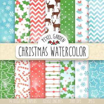 Christmas Watercolor Digital Paper. Winter, Christmas Watercolor Patterns. Painted Watercolor Snowflake, Deer, Chevron in Blue, Green, Red.