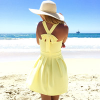 Cross Bow Dress in Lemon Yellow