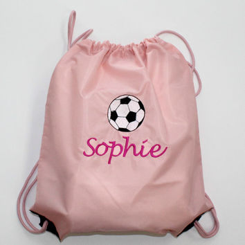 Personalized Back Pack Sports Cinch Sack Soccer, Baseball, Basketball, Lacrosse, Hockey, Custom Embroidered Christmas Gift
