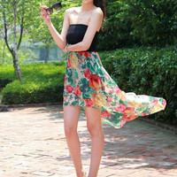 Black Floral Print Strapless Long Back Dress