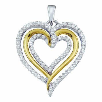10kt White Gold Women's Round Diamond Triple Nested Heart Pendant 3-8 Cttw - FREE Shipping (US/CAN)