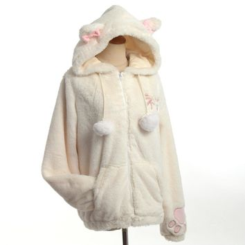 Cute Women Cat Ears Fluffy Hooded Coat Embroidered Tail Warm Outwear Jacket