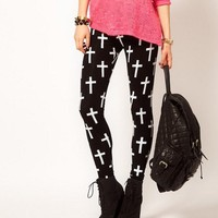 Cross Sexy Black Fashion Skinny Leggings [5077]