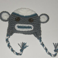 Boy Sock Monkey Hat  0-3 or 3-6 months