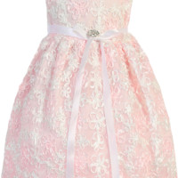 Pink Mesh Baby Girls Dress Covered w. Satin Ribbon Flowers 0-24m