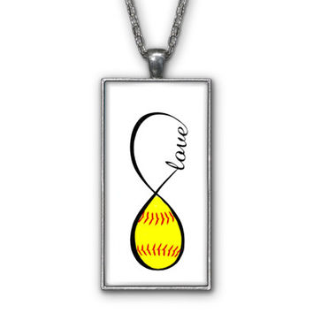 Softball Love Infinity Symbol Pendant Necklace Jewelry