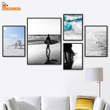 COLORFULBOY Surf Sea Landscape Nordic Posters And Prints Wall Art Print Pop Art Posters And Prints Wall Pictures For Living Room