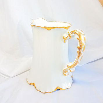 Antique Haviland Limoges Pitcher, Vintage Large WHite and Gold Gild Milk Pitcher, Shabby Chic Table, Art Nouveau Antique