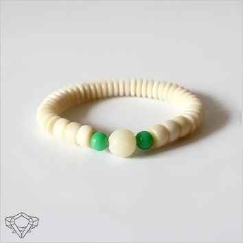 Ivory White Bodhi Seed & Natural Tagua Nut Mala Beaded Bracelet