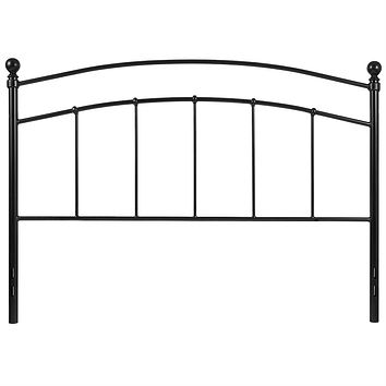 Full size Classic Black Metal Headboard with Round Posts