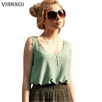 Women's Wavy Edge Lace Sleeveless Vest Loose Chiffon Halter Tank Top Shirt For Women Tees Camis Camisole Plus Size Tees S096