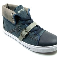 Mens Rocus Cap Toe Lace Up High Top Sneakers Boots GF-03 Navy
