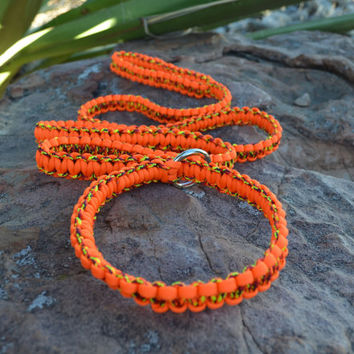 Macrame slip lead dog leash, Orange paracord leash, 6'