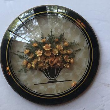 Antique Dried Flower Bouquet in Convex Bubble Glass Frame Victorian