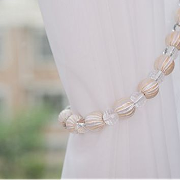 "Set of 2 Stylish Rayon Bead with Crystal Bead Drape Curtain Tiebacks Holdbacks, 28"" Long, Ivory"