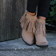 Don't Let Me Down Camel Wedge Booties With Fringe & Buckle Detail