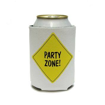Party Zone Construction Sign - Birthday Boy Can Cooler Drink Insulator Beverage Insulated Holder