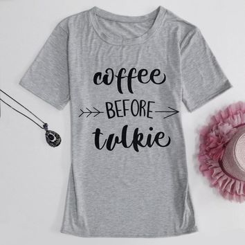 Summer T Shirt Fashion Women coffee before talkie Letter Print Loose Tops Casual Sleeve Tee