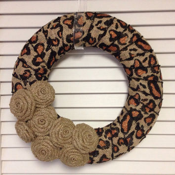 Cheetah Wreath, Modern Wreath, Wreath for All Year, Spring Wreath, Animal Print Wreath, Unique Wreath, Contemporary Wreath, Burlap Wreath