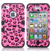 Black Leopard High Impact Combo Hard Rubber Case For iPhone 4 4S Pink+ Protect