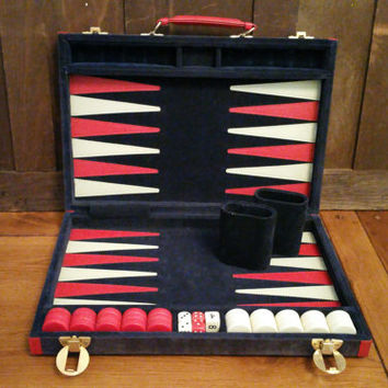 Vintage Travel Backgammon Set Navy Velvet Case Great Vintage Game