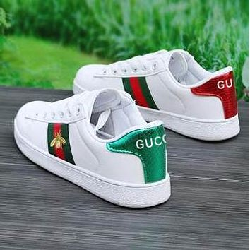 Gucci Fashion Women Men Flat Shoes Small white shoes Small Bee Shoes Bee Embroidery