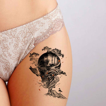 Tree Skull Tattoo,Fashion Tattoo,Wedding invitation,Wedding Gift