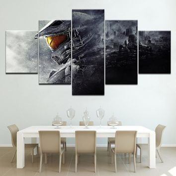 5Piece Wall Painting Canvas Prints Posters Halo 5 Guardians Video Game Modular Wall Art Home Decor Art Print Picture Artwork