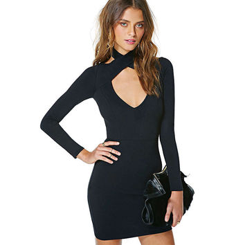Black Cross V-Neck Cross Bodycon Mini Dress