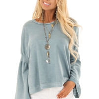 Dusty Blue Long Bell Sleeve Sweater Top