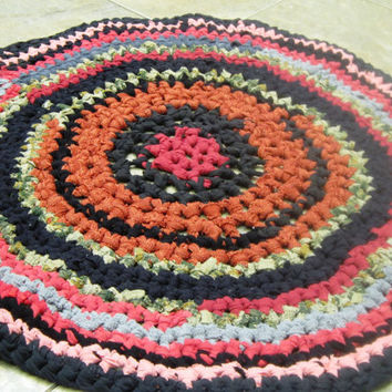 Rag Rug Crocheted from Earth tone Upcycled Recycled Fabrics