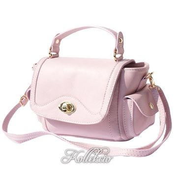 Small Italian Genuine Leather Pink Handbag with Shoulder Strap